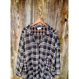 UMGEE plaid long tunic button down blouse